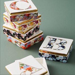 Anthropologie Storage & Organization - Anthropologie Monogram Lidded Jewelry Box